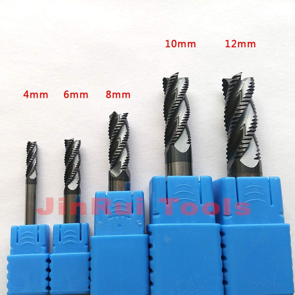 4Mm,6Mm,8Mm,10Mm,12Mm HRC45/55/60 4Flute Or 3Flute Solide Carbide Roughing End Mills CNC Router Bit Corn Milling Cutter Tools D8x40x100L HRC45 4 Flute