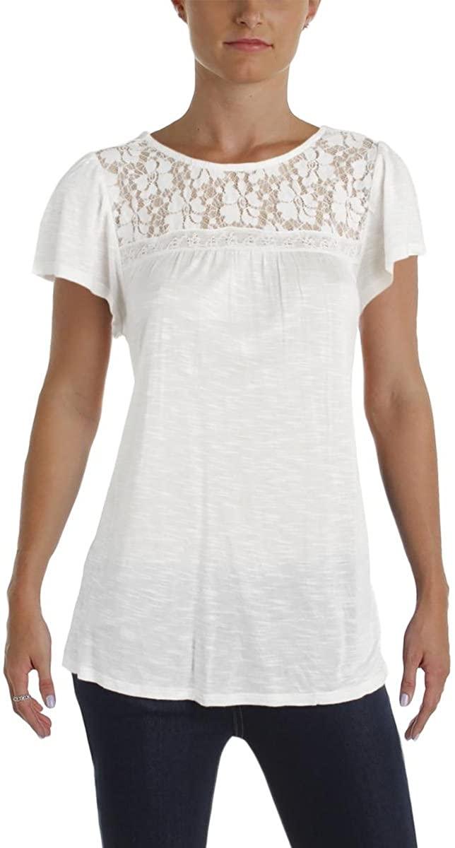 Denim & Supply Womens Slub Lace-Up Blouse