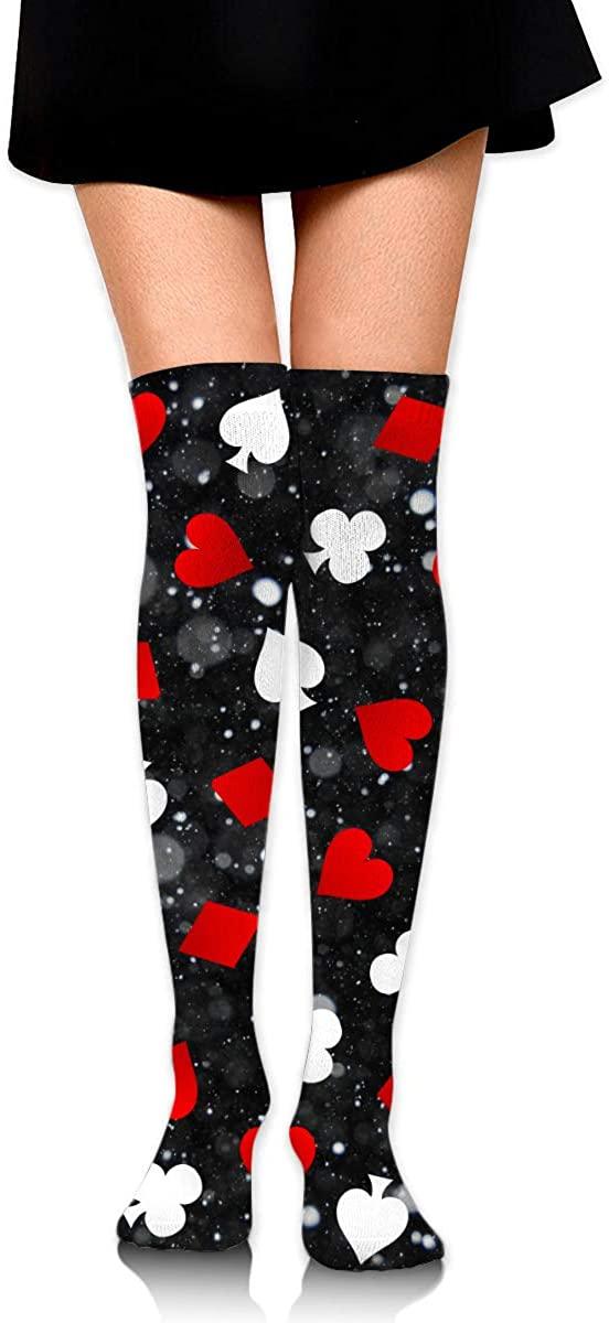 Knee High Socks Poker Women's Athletic Over Thigh Long Stockings