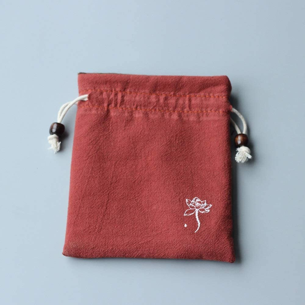 YiCanG Gift Bag - Cotton and Linen Play Bag Bead Bag Storage Bag, Cotton Drawstring Bag Bundle Pocket Small Bag, 13 15cm (5 Per Pack) Gift Bags (Color : Red)