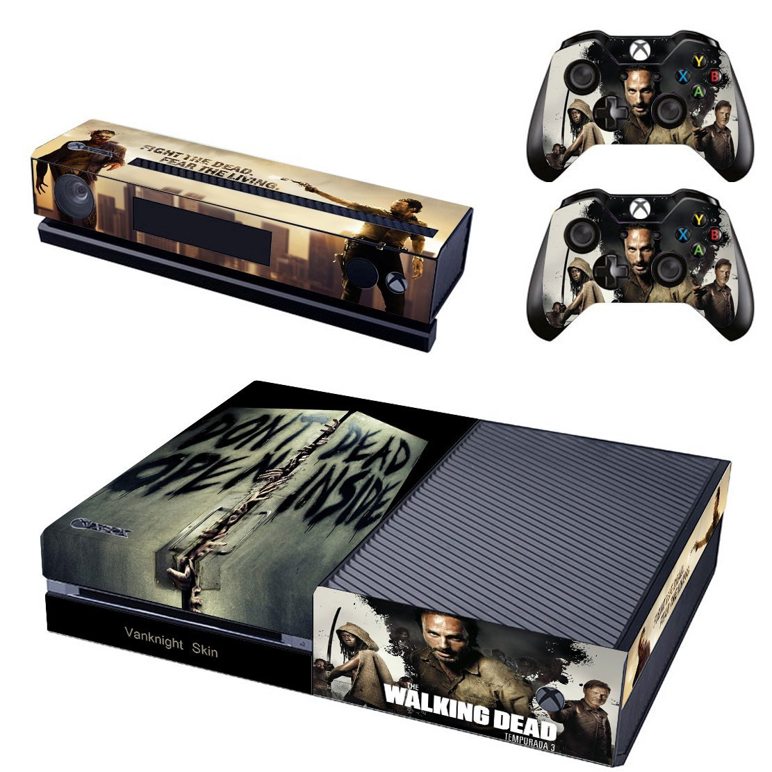 Vanknight Vinyl Decal Skin Stickers Cover Walking Dead Don't Open Dead Inside for Xbox One Console Kinect 2 Controllers