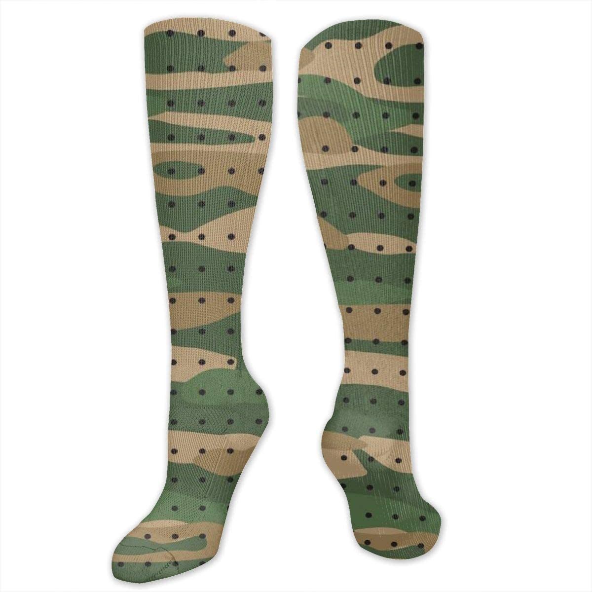 Knee High Socks For Men Women Green Camo Print Cycling Hose Stockings