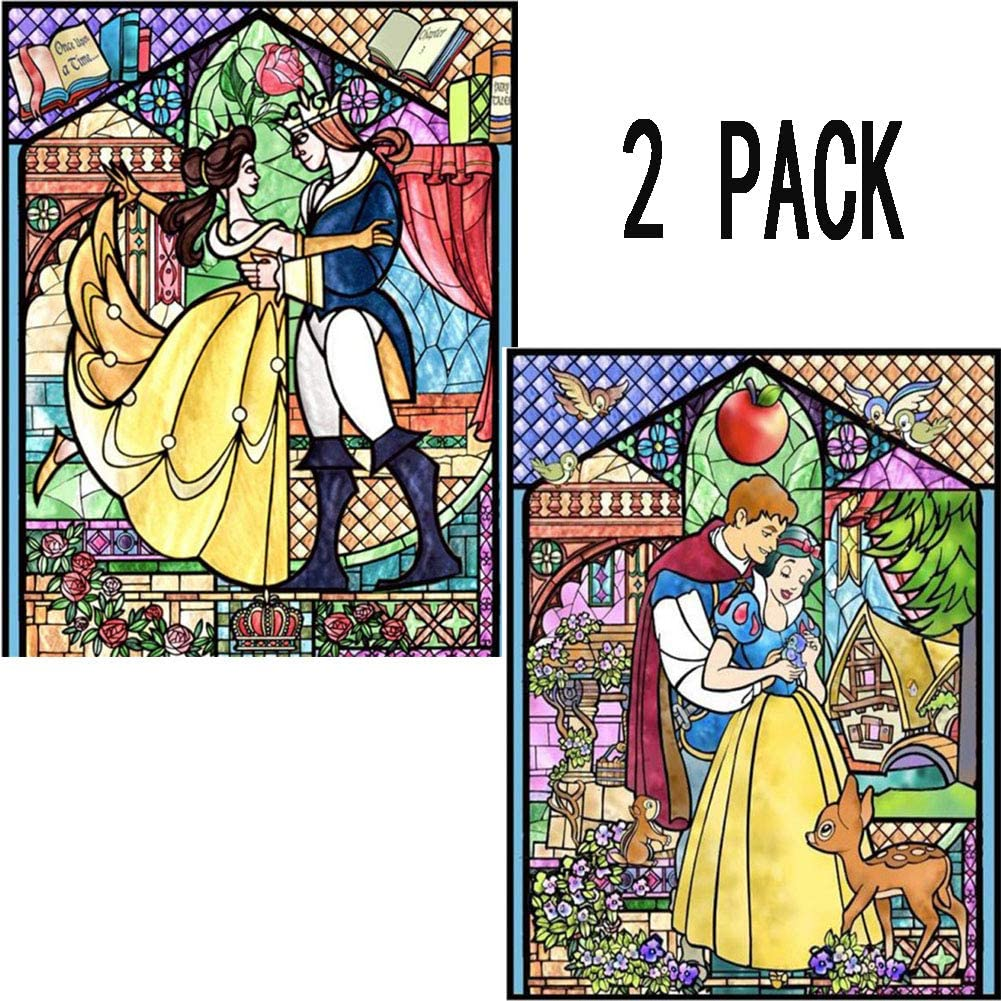 DIY 5D Diamond Painting Kit, 2 Pack 16X12 Snow White Belle and Prince Round Full Drill Crystal Rhinestone Embroidery Cross Stitch Arts Craft Canvas for Home Wall Decor Adults and Kids