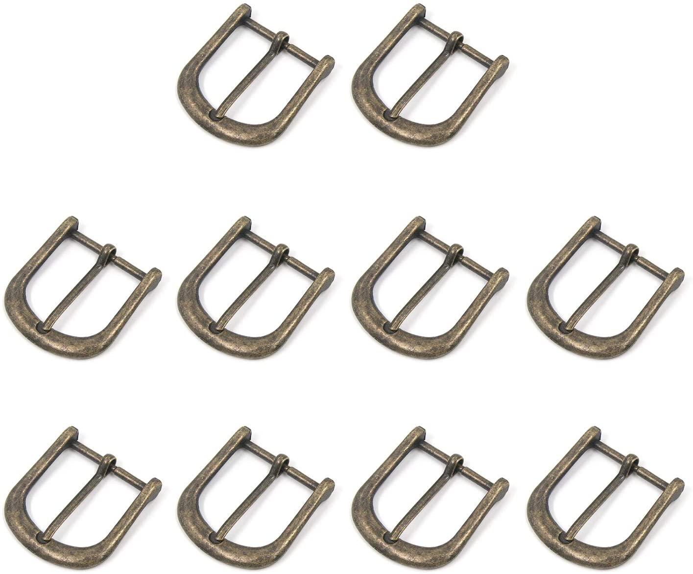 Geesatis 10 PCS 1.2 Roller Buckles Bronze Belt Buckle with Roller Adjustable Rectangle Ring for Belt Strap Metal Belts Hardware