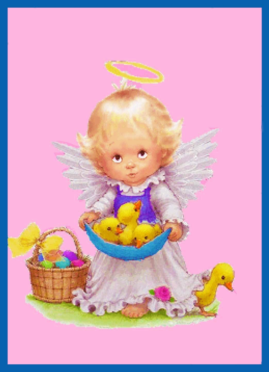 Orenco Originals Contemporary Angel Baby Ducks Easter Basket Counted Cross Stitch Pattern