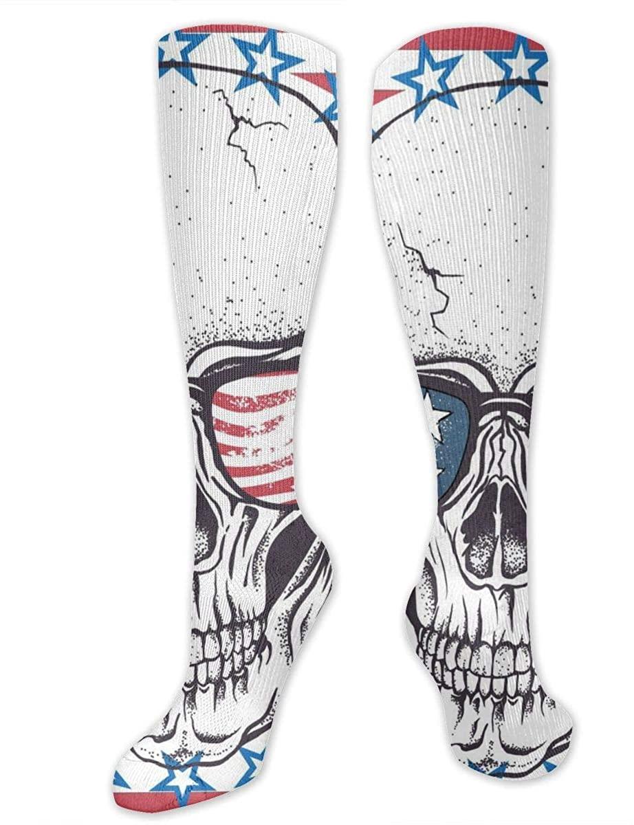 Men Women Knee High Socks Striped Pirate Skull America Flag Boot Crew Hose Thigh Stockings
