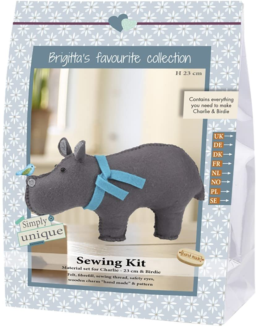 Go Handmade Charlie The Hippo & Birdie 23cm Sewing Felt Needlework Kit, All Parts & Materials Included!