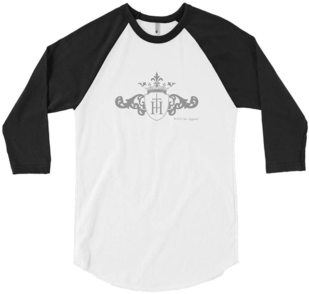 H.O.T. inc. Apparel Original Men's Raglan Baseball T-Shirt Matt-Grey Logo Made in The USA