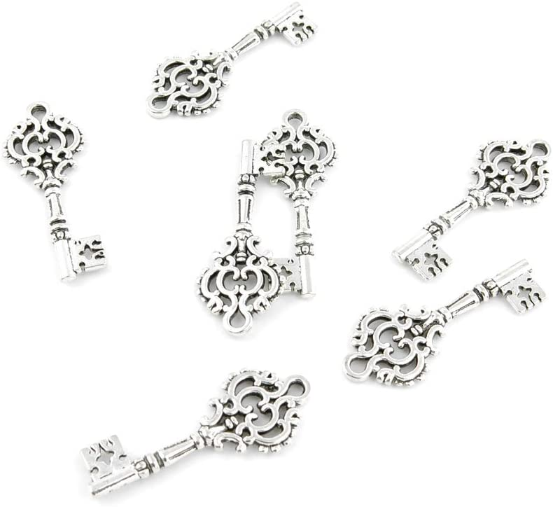 420 Pcs Jewelry Making Charms JDZ07 Flower Key Antique Silver Fashion Finding for Necklace Bracelet Pendant Crafting Earrings