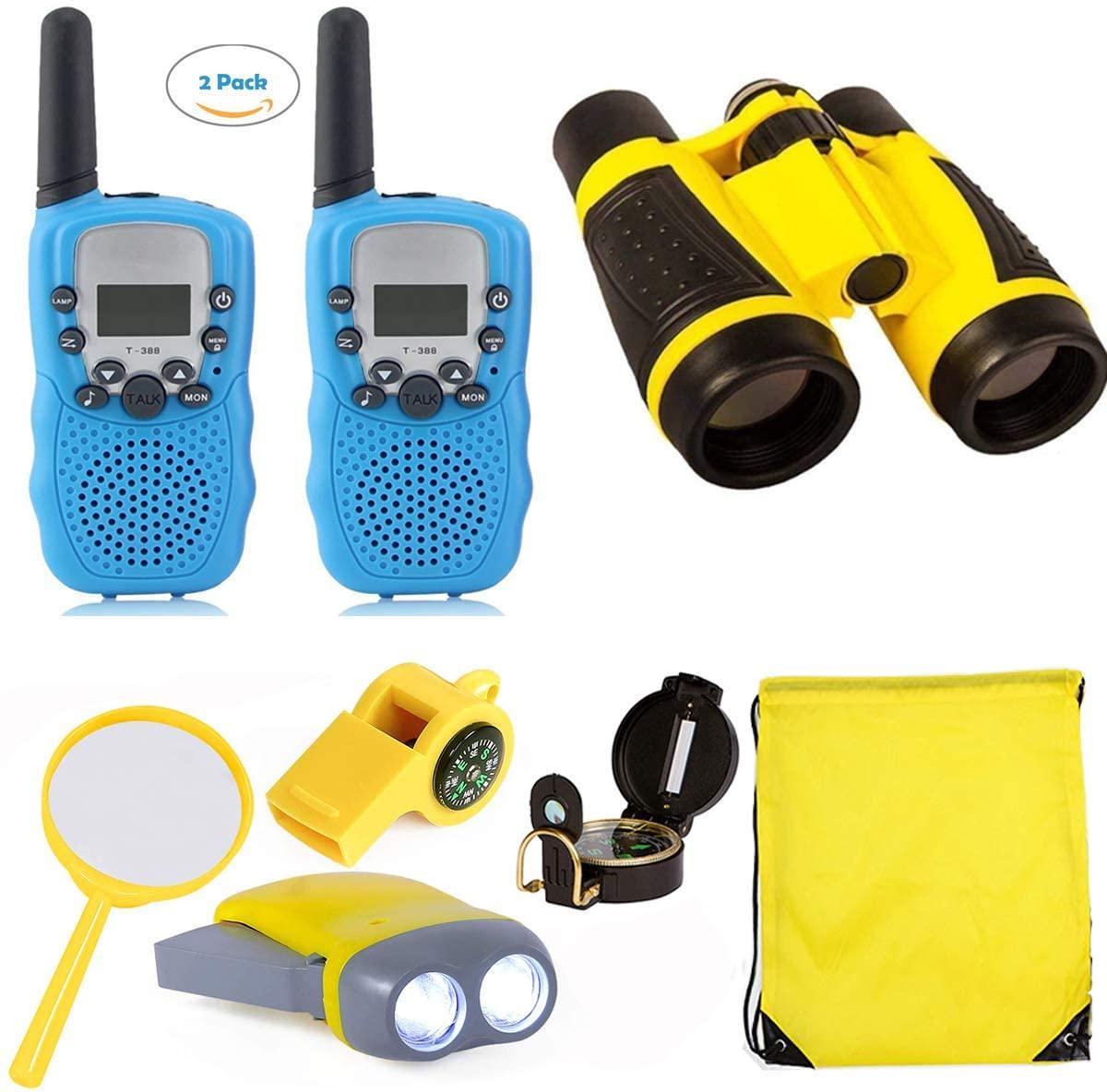 Woltechz Explorer Kit for Kids 2packs Walkie Talkies with 3KM Long Rang/Binoculars for Kids/Flashlight/Compass Adventure Kit for Kids Gift for Camping, Hiking, STEM Toys