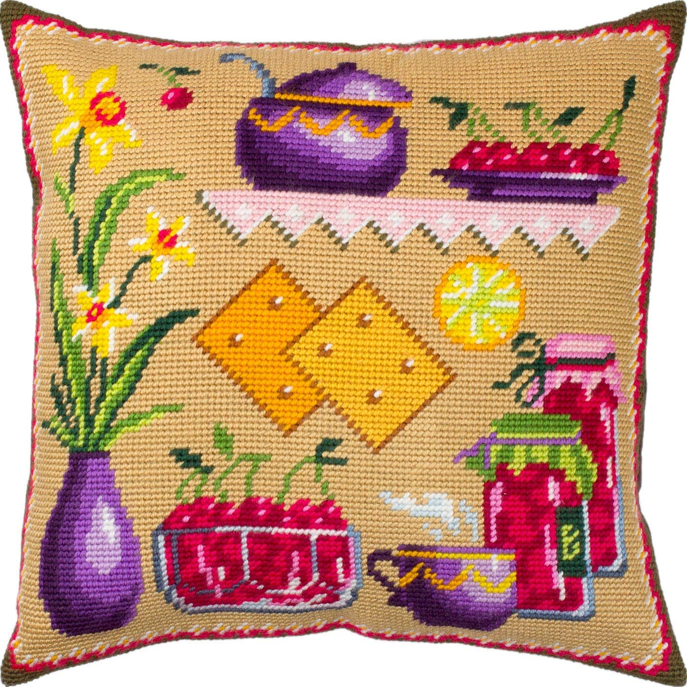 Cherry Jam. Needlepoint Kit. Throw Pillow 16×16 Inches. Printed Tapestry Canvas, European Quality
