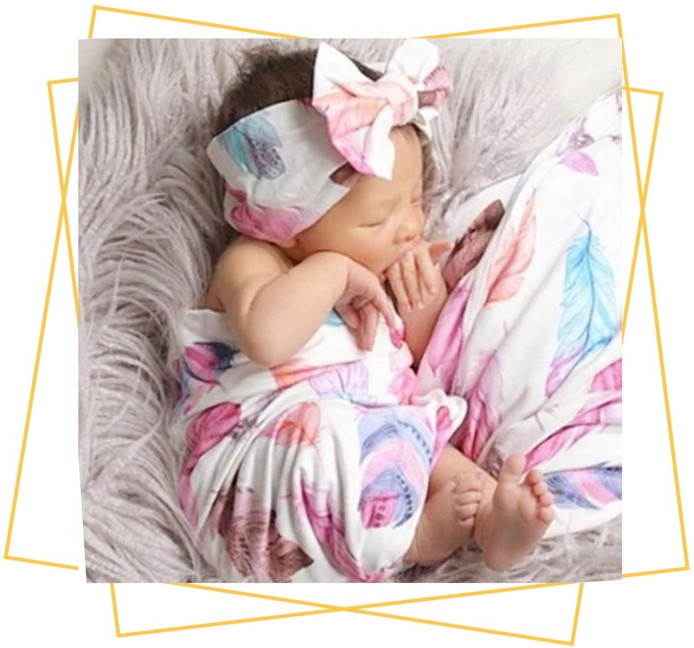 SUFEINI Newborn Receiving Blanket Headband Set - Unisex Soft Baby Swaddle Girl Boy Gifts