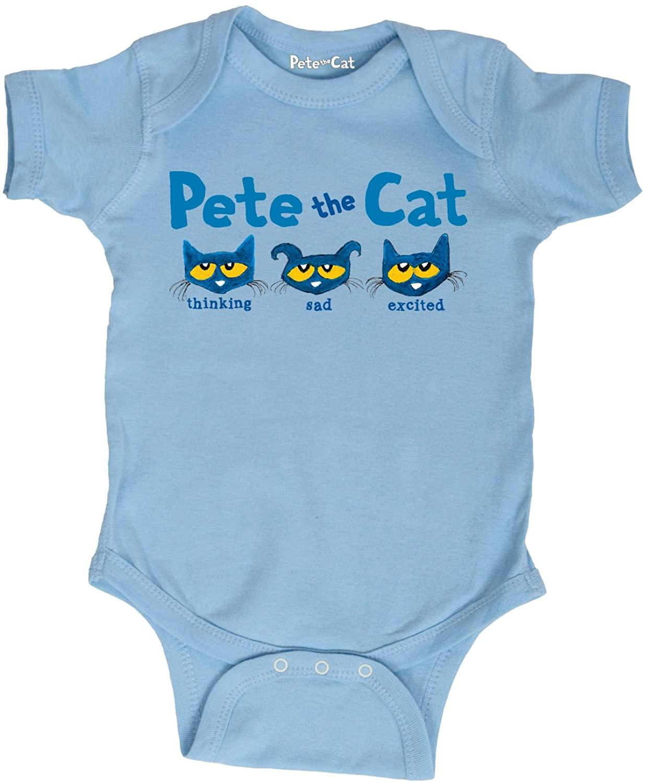 Pete the Cat The Faces of Pete -Infant One Piece-12M Light Blue