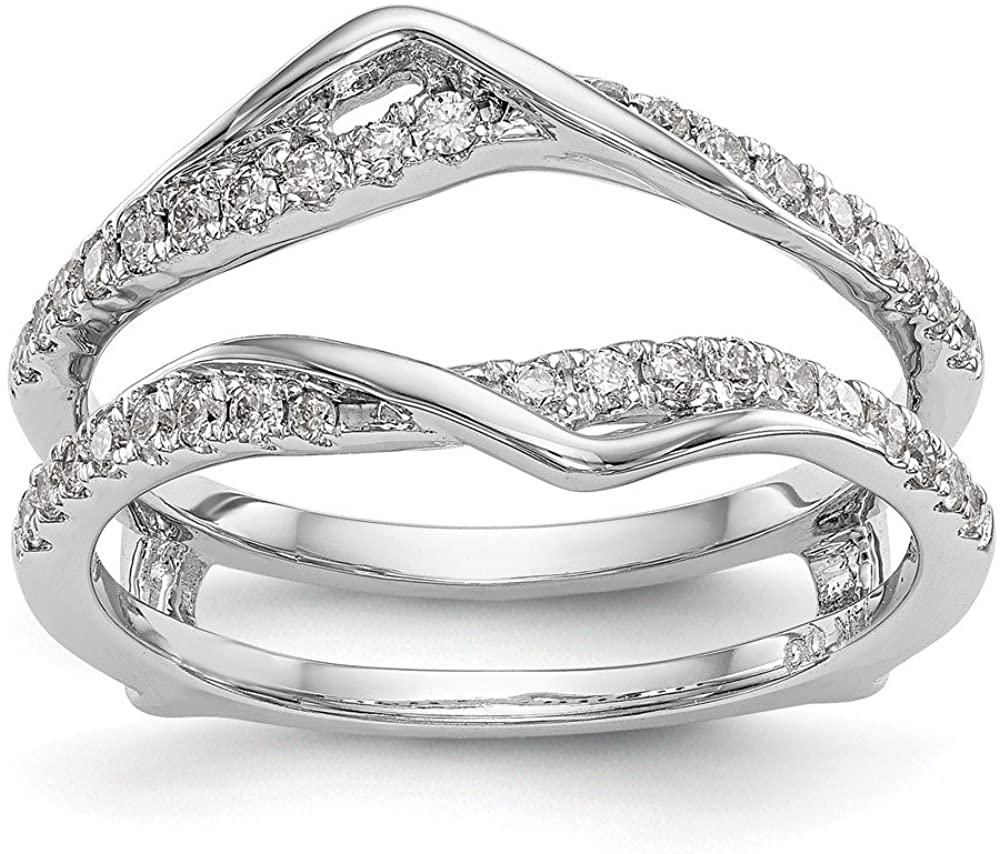 14K White Gold Diamond Guard Size 7 Length Width
