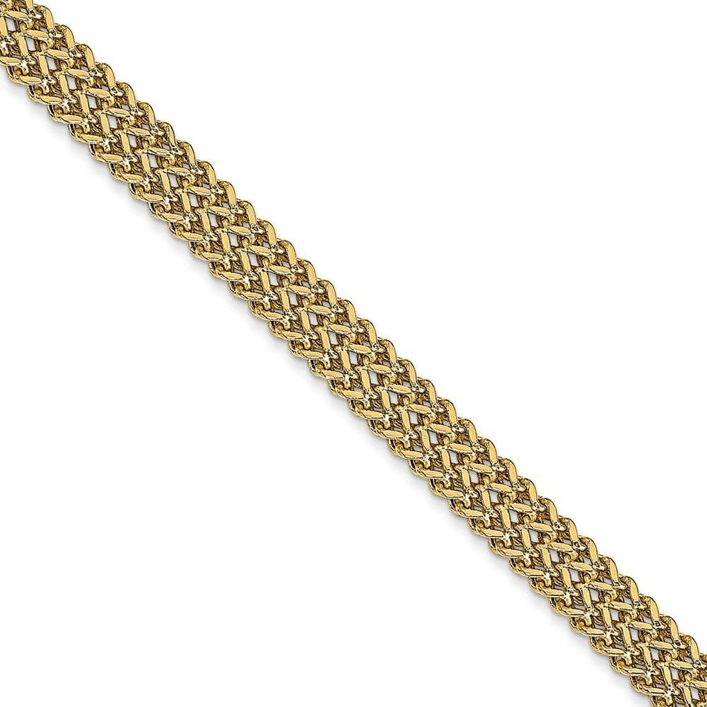 Solid 14k Yellow Gold Unique Link Bracelet 7.5