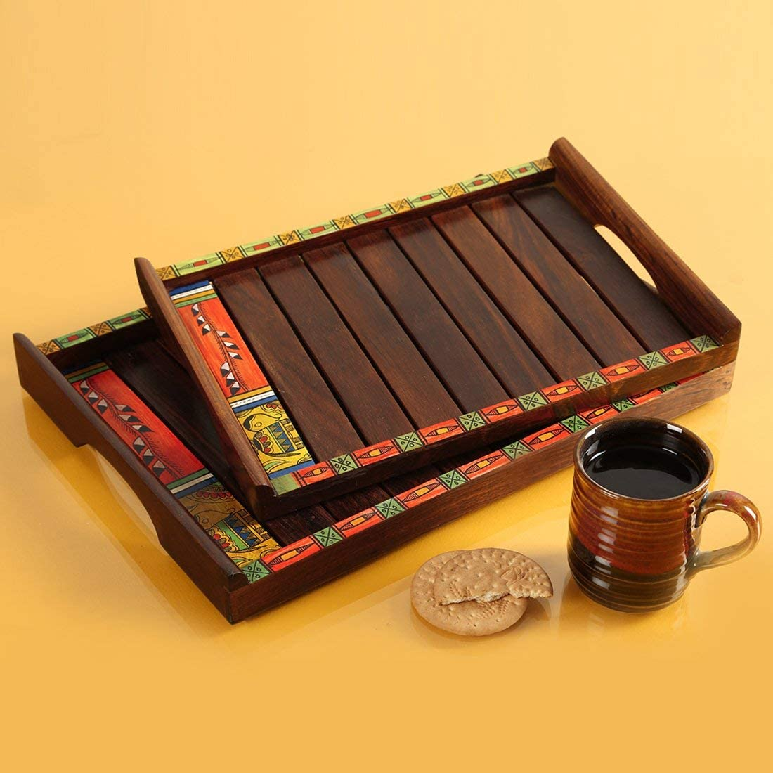 Rang Resha Madhubani Handpainted Trays in Sheesham Wood (Set of 2) - Trays for Serving Tea Wooden Decorative Kitchen Serving Tray for Snacks Dining Table Office Breakfast Coffee Tea Trays for Party