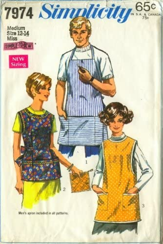 Simplicity 7974 Misses and Mens Apron and Potholder Sewing Pattern, Three Styles Vintage 1968