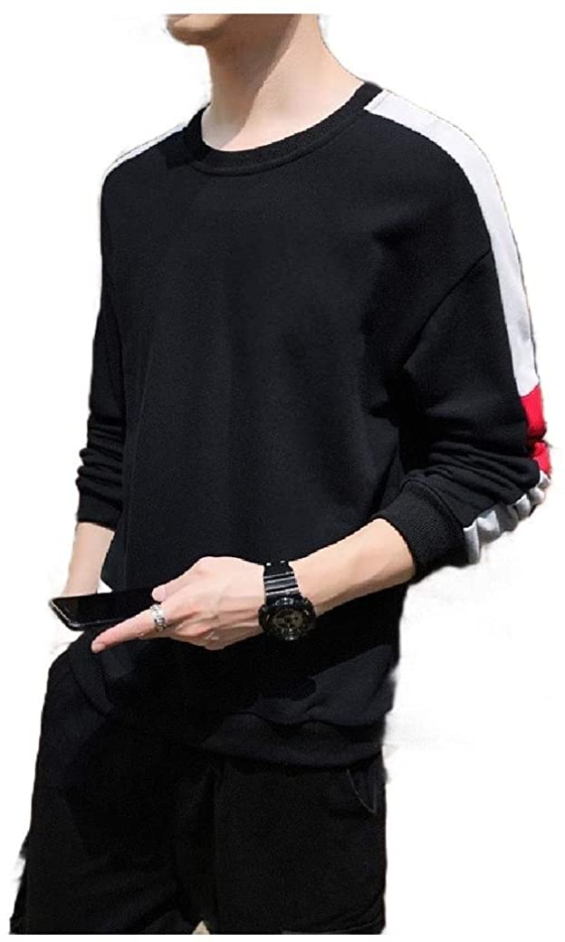 Losait Mens Long Sleeve Color Block Relaxed Pullover Crew-Neck Hoodies