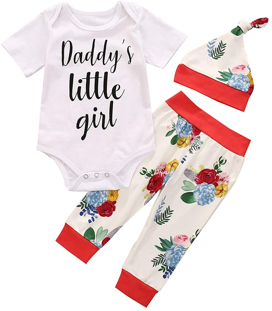 Three Piece Baby Girl?s Clothes Unique Letter Short Sleeve Jumpsuit Fashion Flower Print Long Pants with Hat