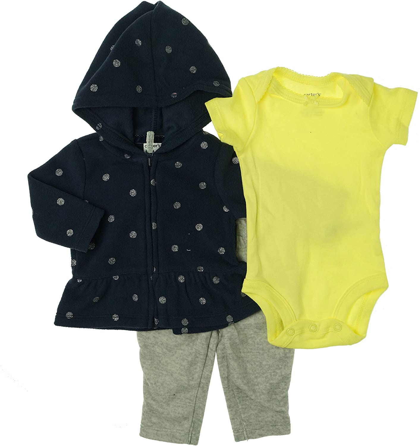 Carters Baby Girl Polka Dot Three Piece Set NB Blue/Gray