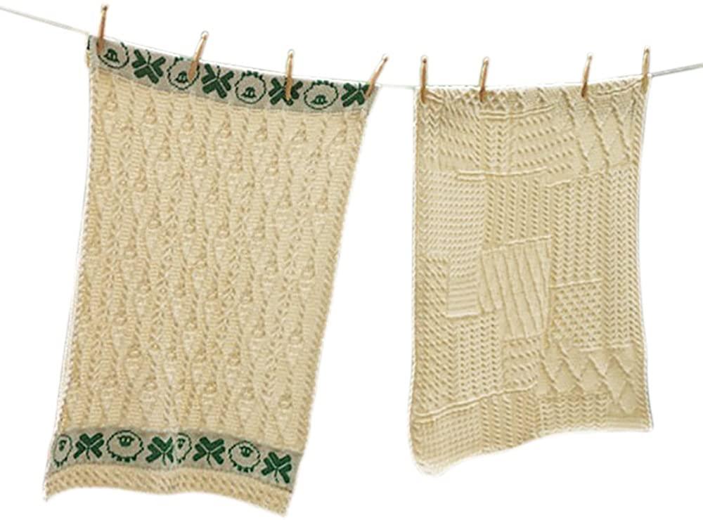 Irish Baby Blanket Merino Wool Aran Knit Throw Made in Ireland with Shamrock