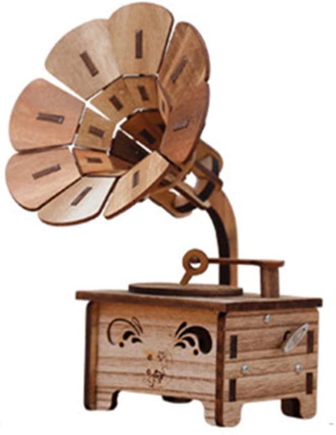 ZhihuaHd Wooden Phonograph DIY Retro Music Box Music Box Creative Ornaments to Send Girlfriend Girls Children Birthday Gifts Beautiful Home Decorations