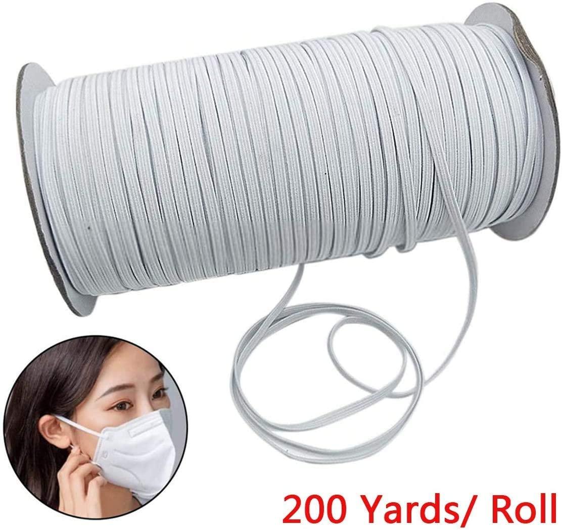 OLOEY 200 Yards Length 1/8 Inch Width Elastic Band White Briaded Knit Elastic String Cord Heavy Stretch Elastic Band for Sewing Craft DIY, Mask (Black, 1/4 inch(200Yard))…