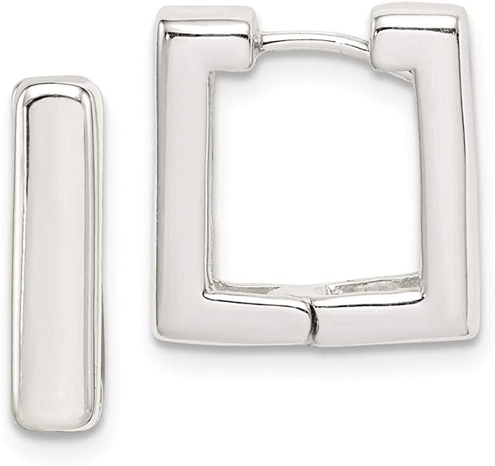 Sterling Silver Square Hoop Earrings QE3446