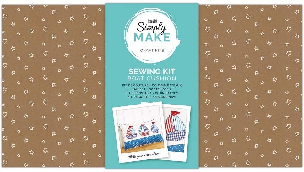 Docrafts Simply Make Gift Sewing Craft Kit - Cushion Making Kit - Boats