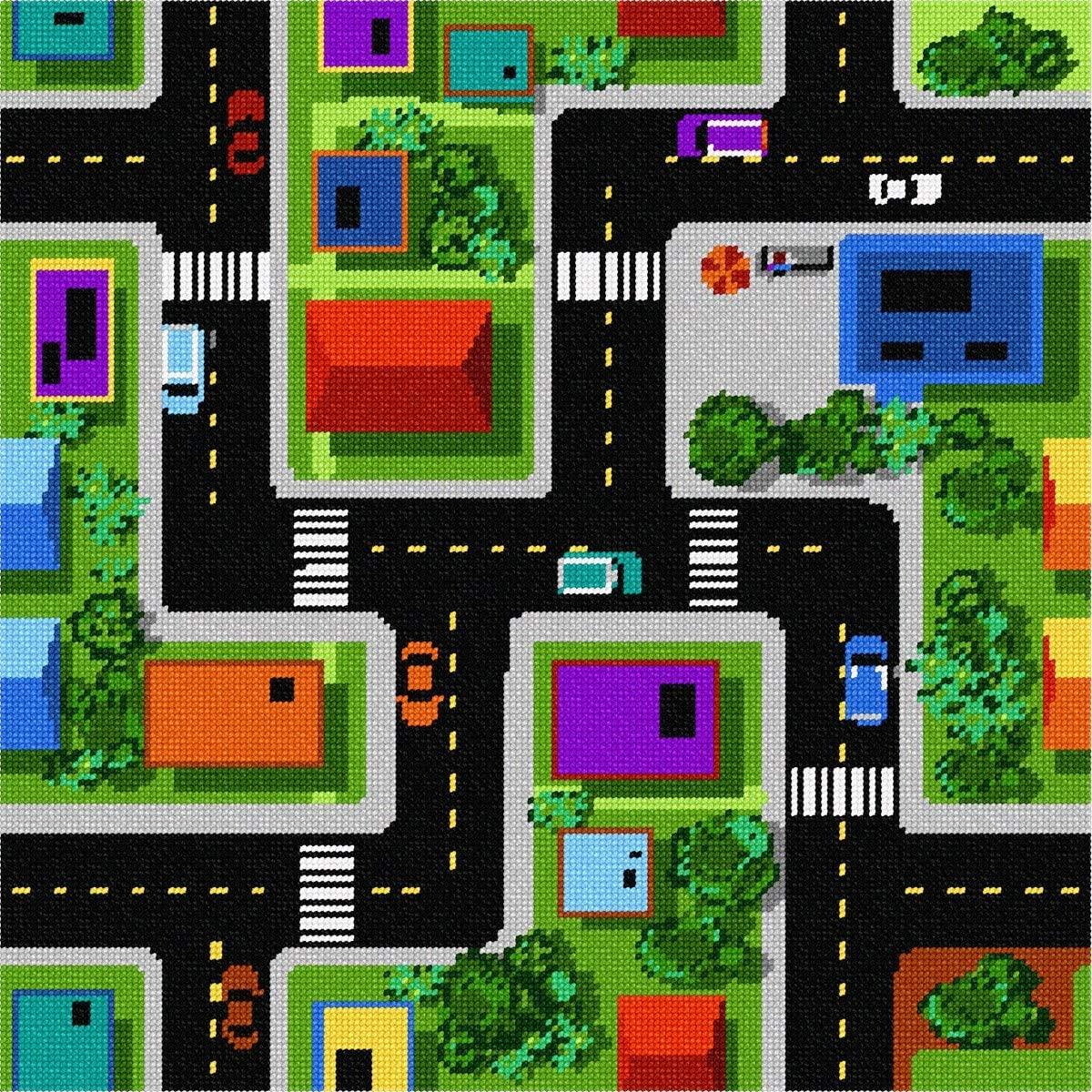 pepita Road Play Mat Needlepoint Canvas