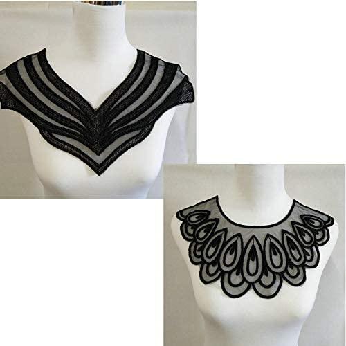 2 pcs Polyester Black Fabric Flower Lace Sewing Applique Lace Collar Neckline Collar Applique DIY Accessory (Color B)