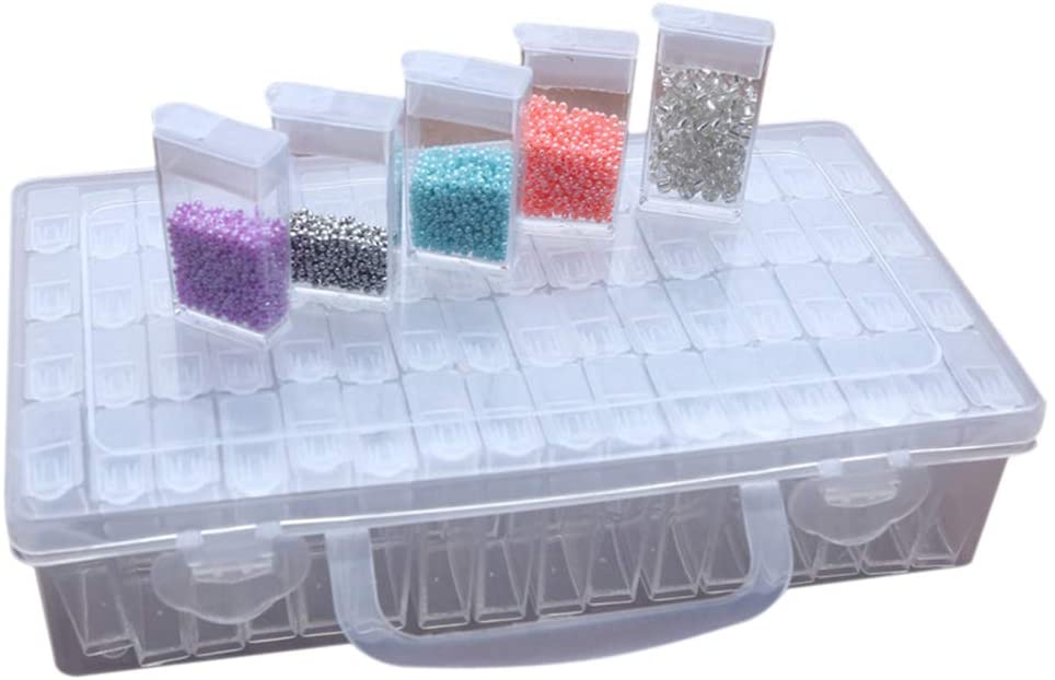 DishyKooker 64 Grid Storage Box Dismountable with Cover Handle for Diamond Beads Embroidery Accessories Comfort