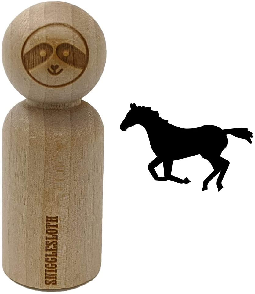 Horse Running Solid Rubber Stamp for Stamping Crafting Planners - 3/4 Inch Small