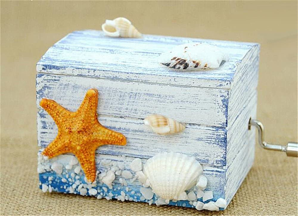 Biscount Mini Starfish Shell Beach Classic Clockwork Wood Music Box Castle in the Sky Hand Crank Musical Box for Kids Girls Women Gift