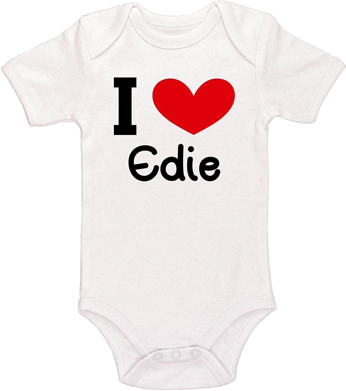Kinacle I Love Edie Personalized Baby Bodysuit