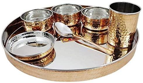 Handicraft Handloom Indian Dinnerware Stainless Steel Copper Dinner Set Thali Plate Bowl Spoon Glass Beautiful Dinnerware Set Steel Copper Set Gift For her