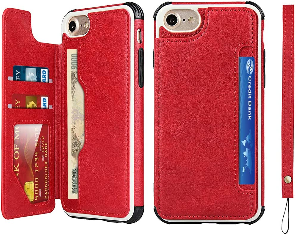 Zouzt Compatible with iPhone se 2020 Wallet Case with Card Holder Hand Strap Premium PU Leather Case Kickstand, Double Magnetic Clasp Durable Shockproof Phone Back Cover for iPhone se II (red)