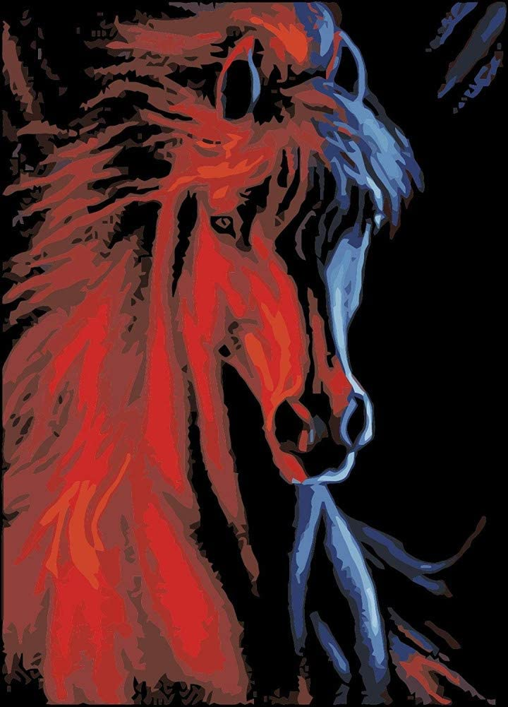 Wowdecor Paint by Numbers for Adults Beginner Kids, Number Painting - Horse Ice and Fire 40x50 cm - Wall Art Gifts (Framed)