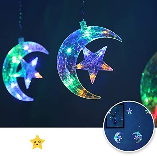 Rxan LED Curtain String Lights, Star Moon Window Curtain Stringlights Decorations for Wedding Party Home Garden Bedroom