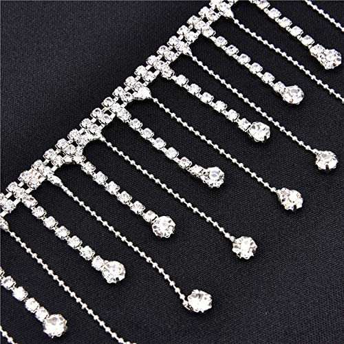 Xuccus 1yards Beautiful Long Tassels Crystal Silver Tone Chain Wedding Necklace Curtain Decoration Costume Applique Trims Sewing - (Color: 6cm Width Silver)