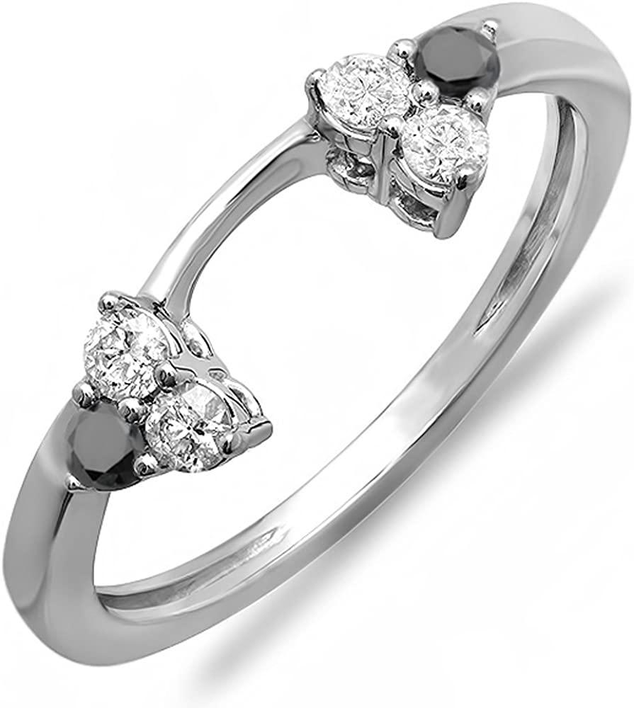 Dazzlingrock Collection 0.30 Carat (ctw) 10K White & Black Diamond Ladies Wedding Ring Matching Guard Band 1/3 CT, White Gold