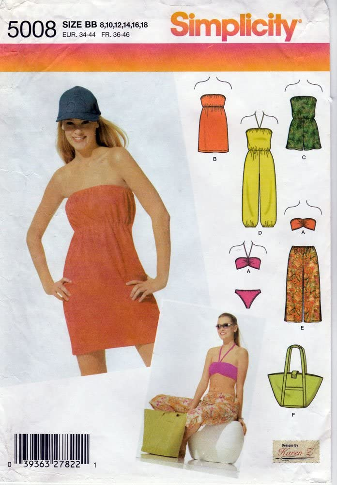 Simplicity Sewing Pattern 5008 c.2004 Misses Beach Cover-ups, Pants, Tote, and Swimsuit, Size BB (8-18)