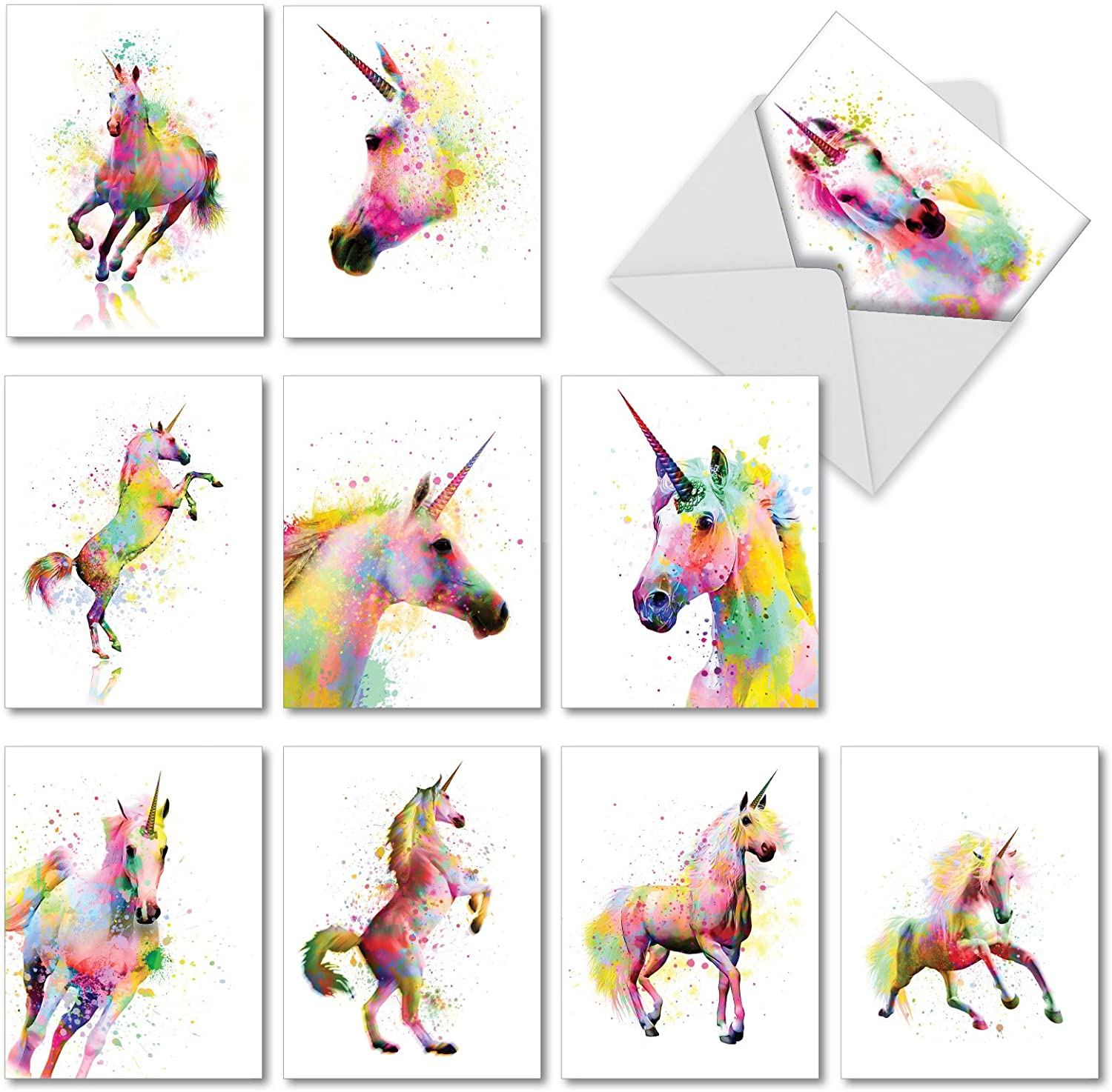 Funky Rainbow Unicorns - 10 Pack of Thank You Note Cards with Envelopes (4 x 5.12 Inch) - Majestic Horses, Animal Greeting Notecard Set for Kids - Colorful All Occasion Thanks Cards AM6748TYG-B1x10