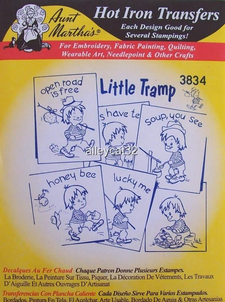 3834 Aunt Marthas Hot Iron On Transfers LITTLE TRAMP Sewing, Embroidery by_alleycat32