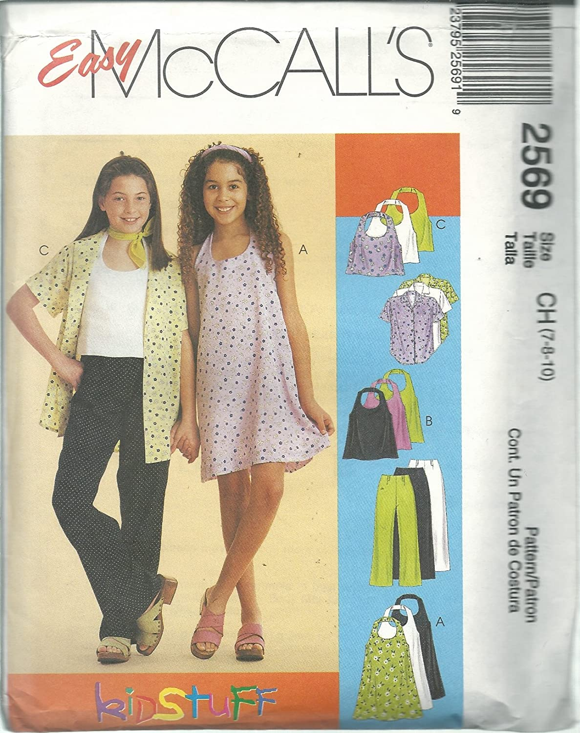 McCall's 2569CH Sewintg Pattern Girl's Dress Top Shirt Pants Size 7-10