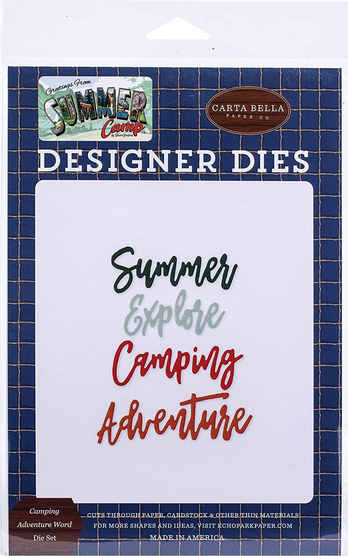Carta Bella Paper Company Camping Adventure Word Set die, navy, red, brown, tan, green