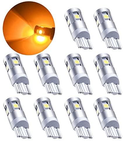 Lesercfbry Super bright 10 PCS Car The width light T10 trucks194 168 W5W 5 yellow SMD 3030 LED Car Wedge Side Light internal Turn Signal light
