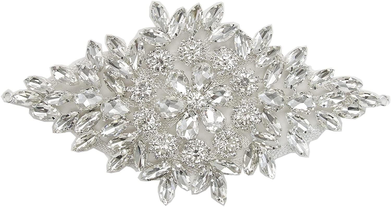 ModaTrims Sew-On or Glue-On Crystal Rhinestone on Silver Metal Applique (Clear Crystals, Silver Frame, 7 inch x 3.5 inch)