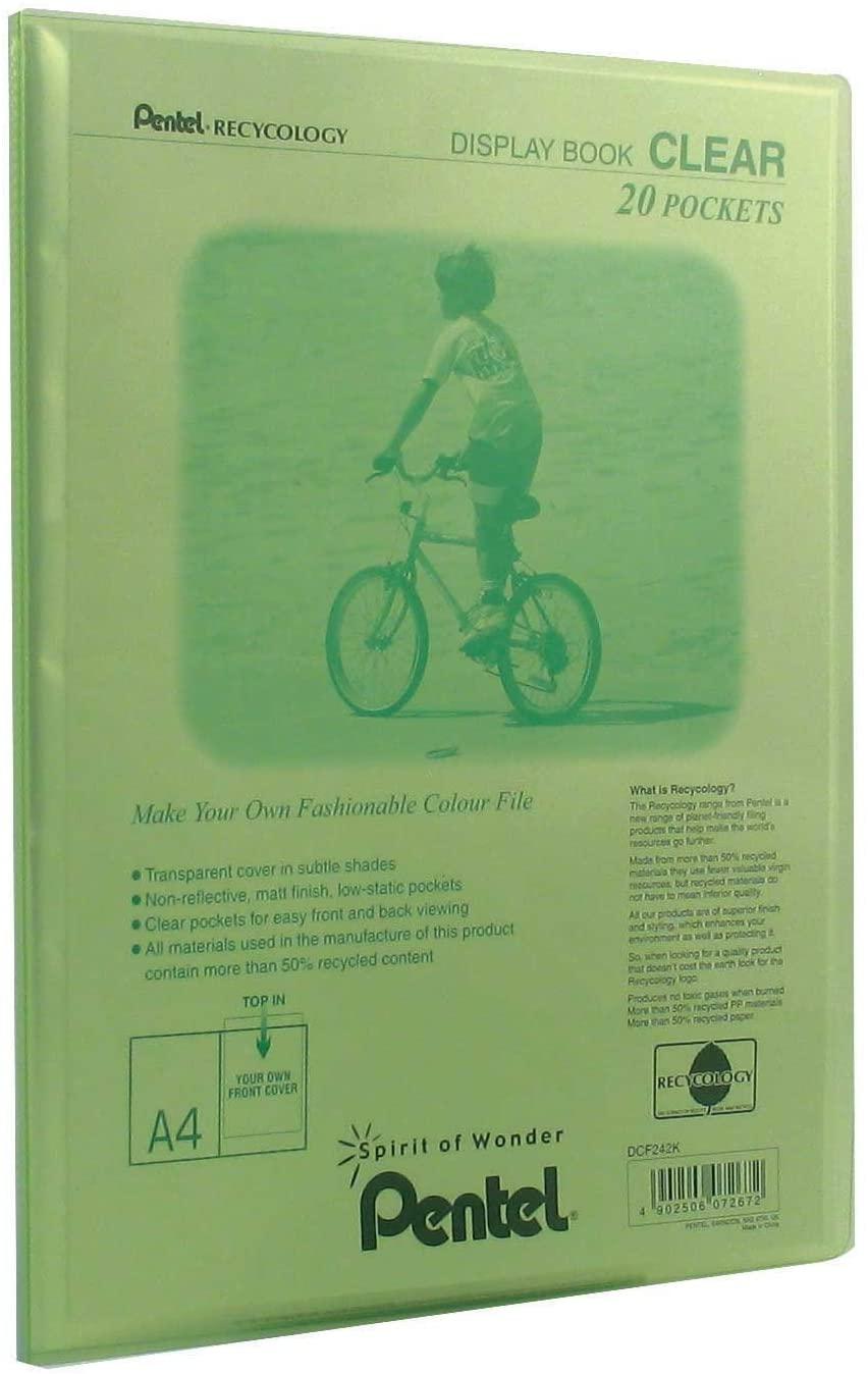 Pentel Display Book Clear, A4 size, 20 Pockets, Green, 1 x Folder