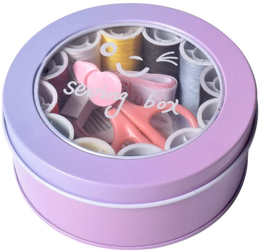 AKDSteel Portable Travel Round Shape Sewing Box Thimble Crochet Set Purple Household Products